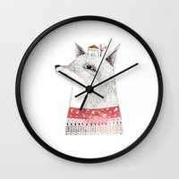 mr fox Wall Clocks featuring Mr. Fox by missmalagata
