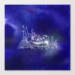 Dino skull – Blue Canvas Print