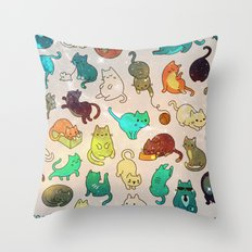 Space Cats Nebula Turquoise Throw Pillow