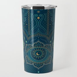 Hamsa Hand in Blue and Gold Travel Mug