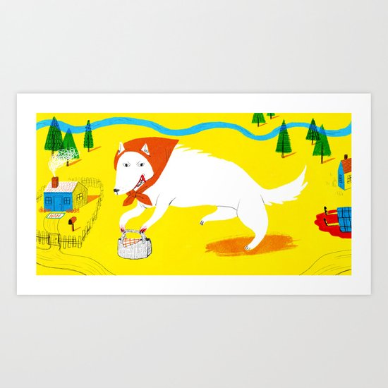 Big Bad Red Riding Wolf Art Print