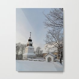 Belfry in Winter Metal Print