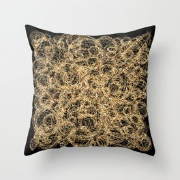 Gold Thread on Black | Abstract Brain Map 3 Throw Pillow