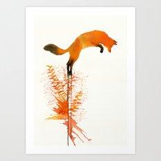 red_fox_jumping Art Print