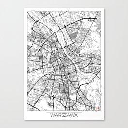 Warszawa Map White Canvas Print