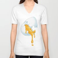 egg V-neck T-shirts featuring EGG by naschamsant