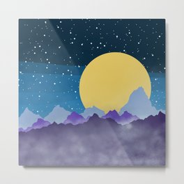 Misty Mountains Moon and Stars Metal Print