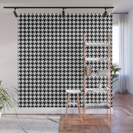 Monochrome Black & White Houndstooth Wall Mural