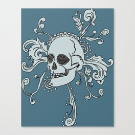 Floral skull in blue Canvas Print