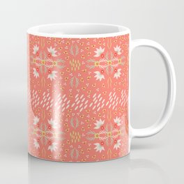 Coral Daisies Patchwork Cosy Homely Quilt Design Coffee Mug