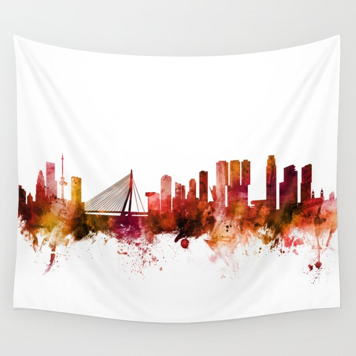 Rotterdam The Netherlands Skyline Wall Tapestry