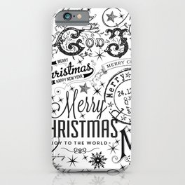 Black and White Christmas Typography Design iPhone Case