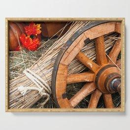 Vintage cart wheel, straw, hay, pumpkin Serving Tray