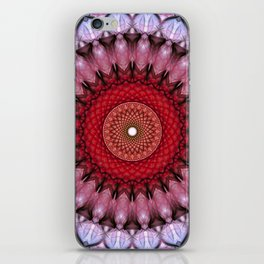 Mandala in red  and light violet tones iPhone Skin