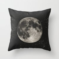 minimalist Throw Pillows featuring The Moon  [Sans Type] by Heather Landis