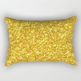 Yellow Gold Glitter Print Rectangular Pillow