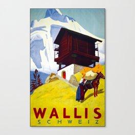 Wallis Schweiz Travel Poster Canvas Print