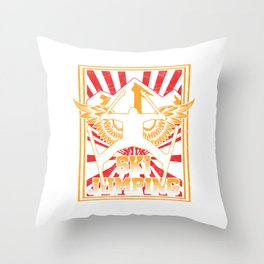 Ski Jumping With Wings rtboard Skier Skiing Snow Iceskating Winter Sports Adventure Gift Throw Pillow