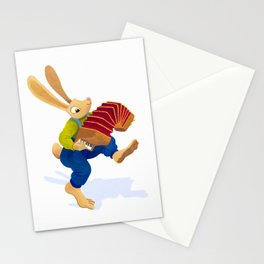 Rabbit with an accordion Stationery Cards
