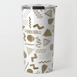 Retro abstract geometrical faux gold white 80'spattern Travel Mug