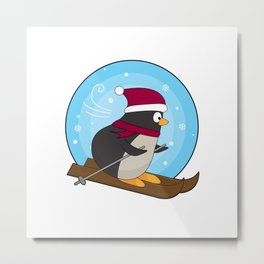 Penguin as Skier with Skis Metal Print