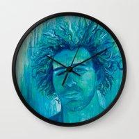 salt water Wall Clocks featuring Salt Water Soul by Sophia Buddenhagen