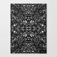 Parti Gras Black and White Canvas Print