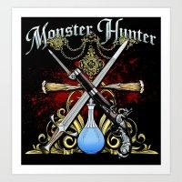 monster hunter Art Prints featuring Monster Hunter II by Egregore Design