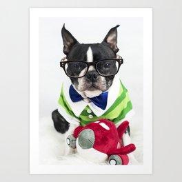 Boston Terrier Nerd Art Print