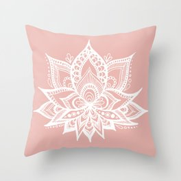White Lotus Flower on Rose Gold Throw Pillow