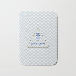 Blue Nautical Anchor Sea Vitamin Typography Bath Mat