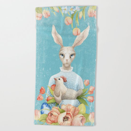 Beautiful Floral Flowers Female Animal Easter Bunny  on #Society6 Beach Towel