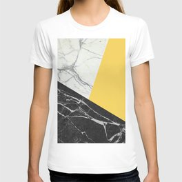 Black and White Marble with Pantone Primrose Yellow T-shirt