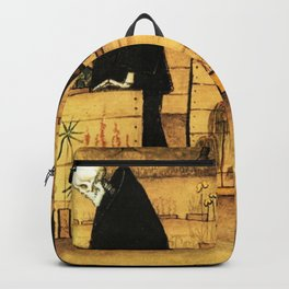 Garden of Life and Death flower and skeleton magical realism portrait painting by Hugo Simberg Backpack