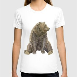 sitting bear print T-shirt