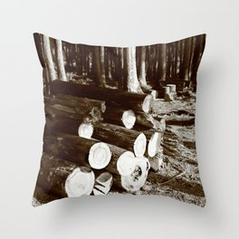 Stacked logs Throw Pillow