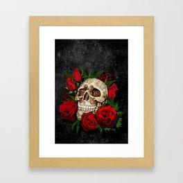 Red Rose Sugar skull Framed Art Print