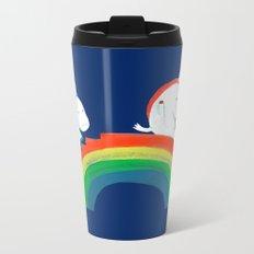Unicorn on rainbow slide Metal Travel Mug