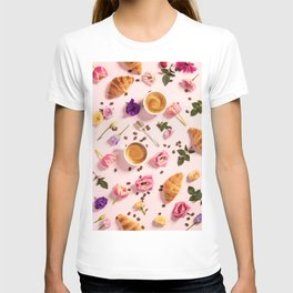 Morning coffee, croissants and a beautiful flowers T-shirt