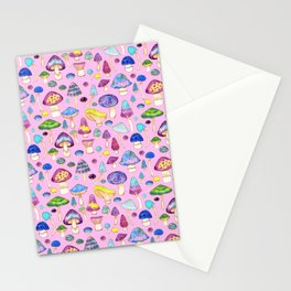 Watercolor Mushroom Pattern on Pink Stationery Cards