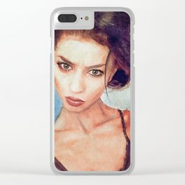 Painted Portrait Of A Beautiful Young Woman Clear iPhone Case