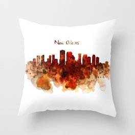 New Orleans watercolor skyline Throw Pillow