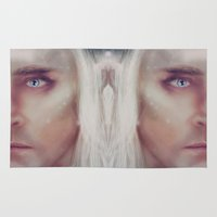thranduil Area & Throw Rugs featuring Thranduil - snow by LindaMarieAnson