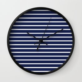 Navy Blue and White Horizontal Stripes Pattern Wall Clock