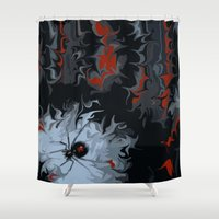 black widow Shower Curtains featuring widow by Shea33