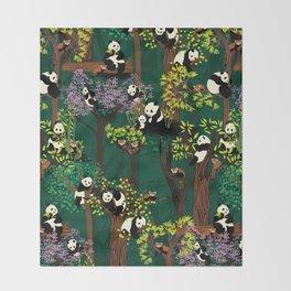 Both Species of Panda - Green Throw Blanket