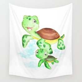 turtle baby and mom, nautical wall decor, ocean themed nursery, sea turtle, sea animals watercolor Wall Tapestry