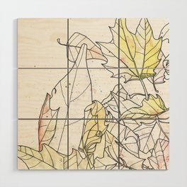 Autumn Leaves Watercolor Wood Wall Art