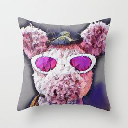 """""""Pinky the Pig Polygon Portrait"""" Throw Pillow"""
