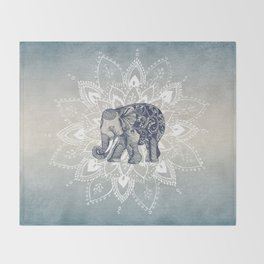 Elephant  Mandala Throw Blanket